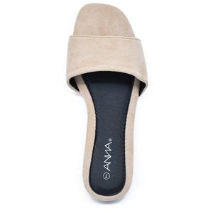 Women's Square Toe Flat Single Thick Band Sandals